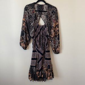 Free People Backless Bohemian Long Sleeve Dress